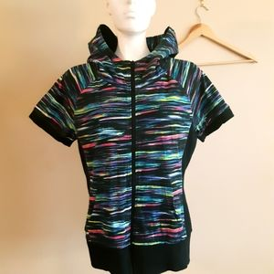 Warehouse one | bright zebra short sleeve hoodie